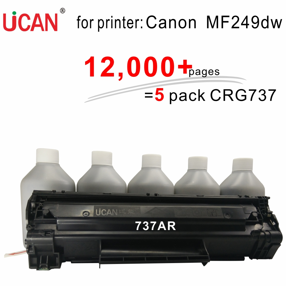 for Canon MF249dw Laser Printer Toner 737 337 137 UCAN 737AR kit 12,000 pages refillable Cartridge equivalent to 6 pcs ordinary