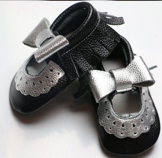 Nuevo estilo 100% zapatos de bebé de Cuero Genuino suave hecho a mano de mary jane flor del cordón del bebé mocasines con astilla bow niñas antideslizante zapatos