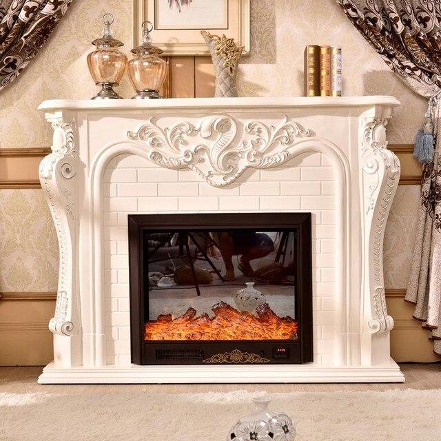 Kamin Dekoration Schrank Flamme Holz Kaminsims W150cm Rahmen Mit  Elektrische Kamin Einfügen Heizung LED Optische Künstliche