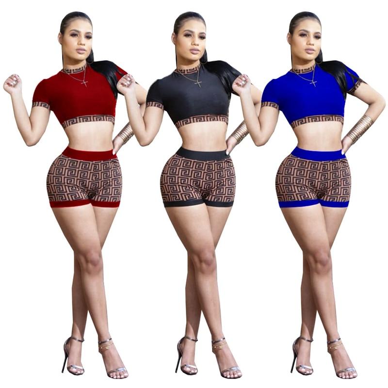 Women Sexy Two Piece Set Print Short Sleeve T-shirt Crop Top Color Patchwork Zipper Mini Shorts Club Outfits