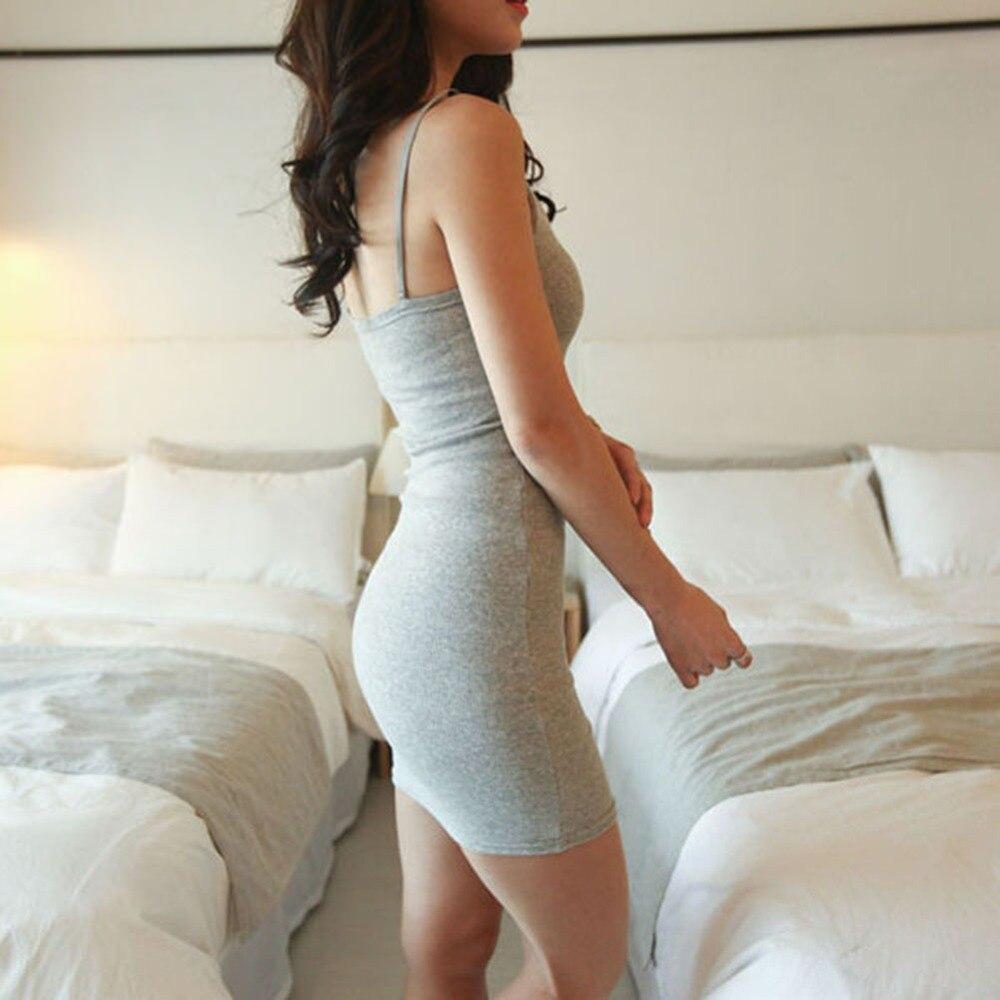 Verano de las mujeres sexy sin respaldo vestidos sin mangas delgada vestidos bás