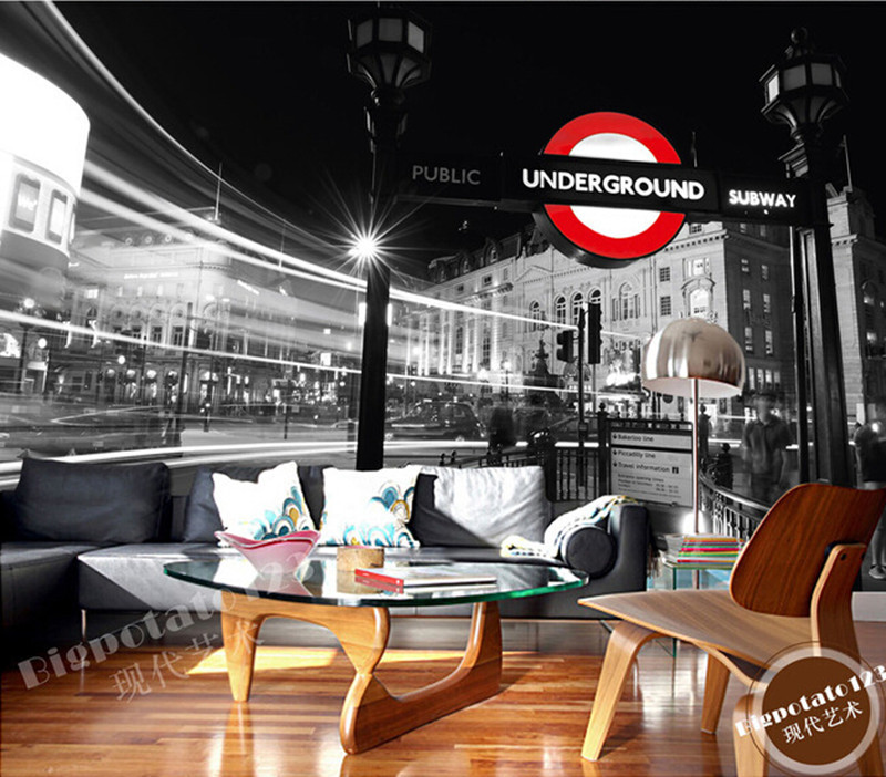 The latest 3D murals, black and white London street . De parede Papel, the living room TV sofa bedroom background wall paper the custom 3d murals the new york times center building street black and white living room sofa tv wall bedroom wall paper