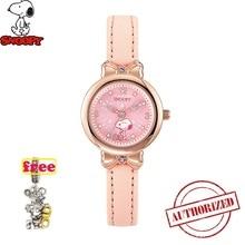 лучшая цена TOP BRAND SNOOPY 2019 New relojes Cartoon Children Watch  Fashion Kids Cute PU Leather quartz Watch Girl relogio feminino SNW748