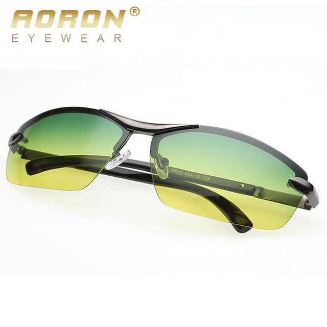 2017 Aoron New Brand Designer Men Driving Day Night Vision Goggles Fashion Polarized Sunglasses Sun Glasses Eyewear oculos 9903