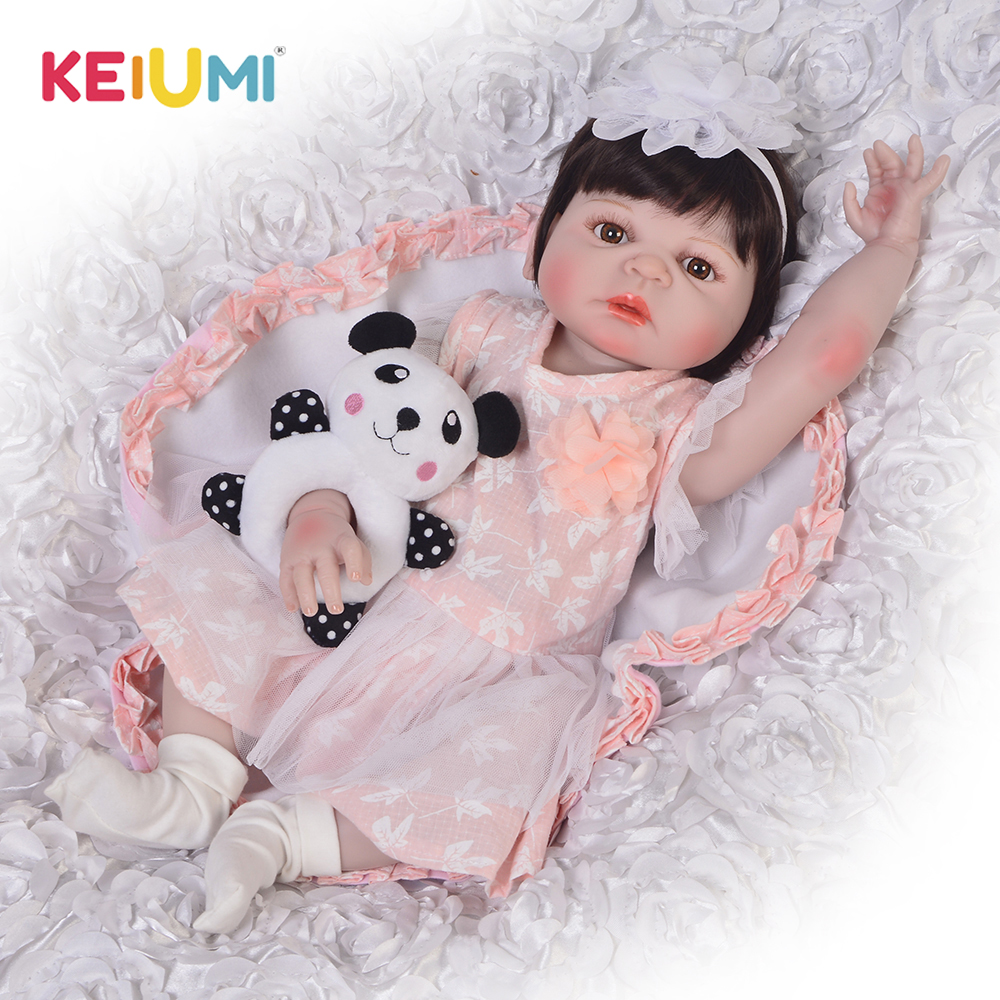 KEIUMI 23 57 cm Full Silicone Reborn Dolls Lifelike Princess Baby Doll For Girl Children s