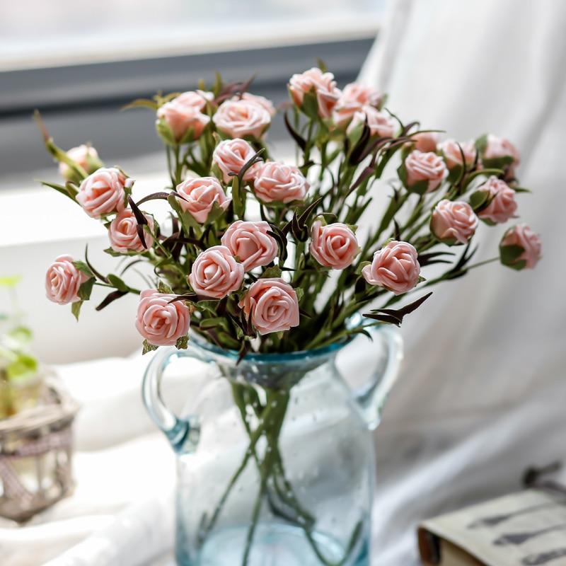 Romantique Décoratif Faux Fleurs 1 Bouquet Belle Ruber Rose De Mariage Fleurs Artificielles Europe Style Salon Décor dans Artificielle et Fleurs Séchées de Maison & Jardin
