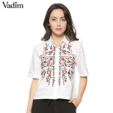 women sweet floral embroidery shirts cotton white vintage totem retro short sleeve casual blouse ladies summer tops blusas DT841(China)