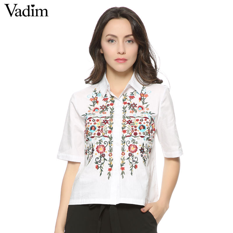 Women sweet floral embroidery shirts cotton white vintage