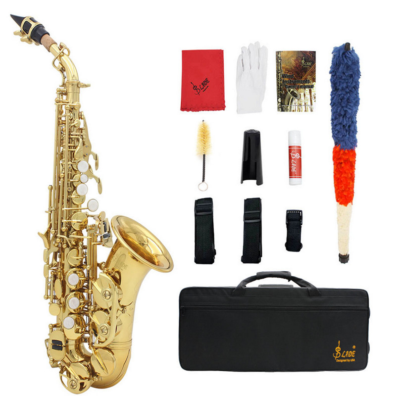 Golden Bb High Pitch Sax Tube Brass Saxophone with Case& Accessories For Brass Woodwind Musical Instruments Lover Beginner Gift bb f tenor trombone lacquer brass body with plastic case and mouthpiece musical instruments
