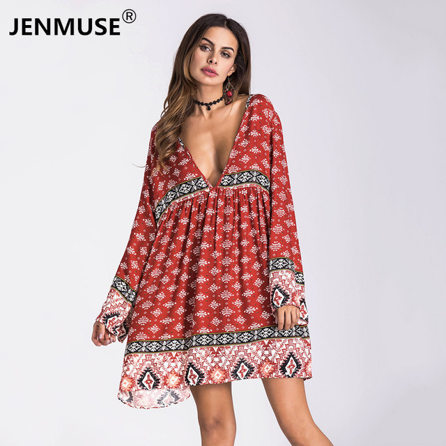 1d5549b8bf7b3 2018 Hot New Autumn Women Dress Boho Robe Sexy Long Party Beach Winter  Dresses Print Shirt Bodycon Bandage Vintage Vestidos