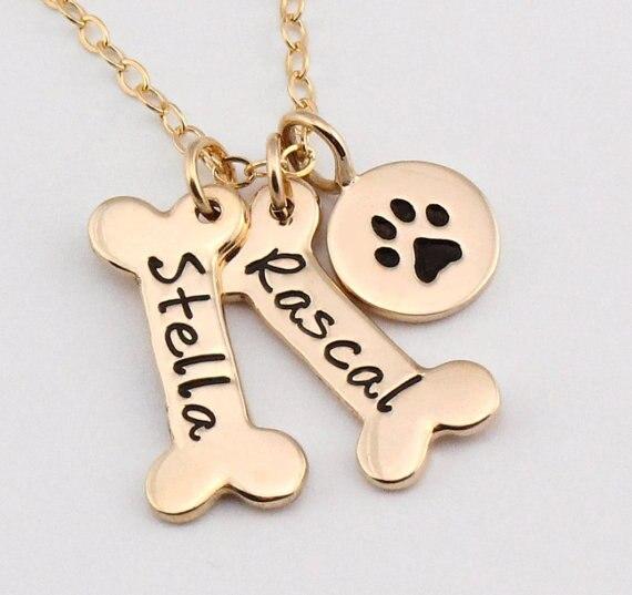 Name Halskette Hund Pfote Halskette Personalisierte Hund Halskette Paw Print Hund Knochen Initial Charme Haustier Schmuck für geschenk YLQ0388
