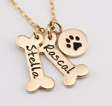 Name Necklace Dog Paw Necklace Personalized Dog Necklace Paw Print Dog Bone Initial Charm Pet Jewelry for gift YLQ0388(China)