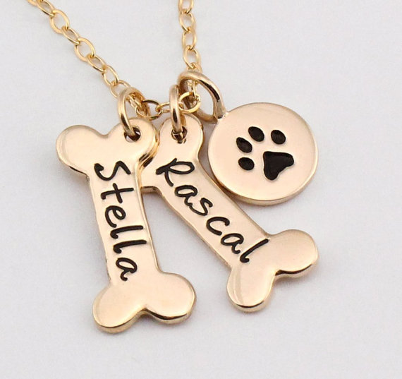 Name Necklace Dog Paw Necklace Personalized Dog Necklace Paw Print Dog Bone Initial Charm Pet Jewelry for gift