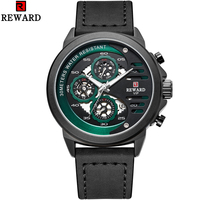 Reward Business Top Brand Sport Hollow Men's Analog Quartz Watches Leather Japanese Movement Male Army Military Wrist Watch