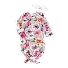 Focusnorm Пеленальное Одеяло для новорожденных девочек от 0 до 6 месяцев, спальный мешок с цветочным рисунком, повязка на голову, одеяло, спальные мешки, одежда из 2 предметов