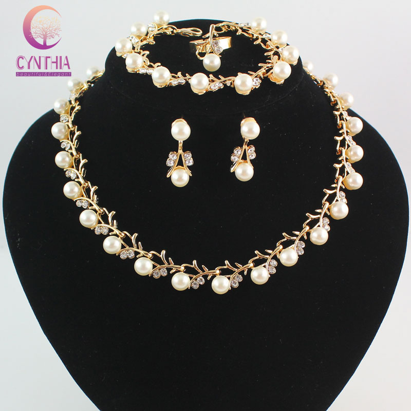 Imitation White Natural pearl Jewelry Sets Rhinestone Ball Necklace Earrings Bracelet Ring Wedding Party Jewelry