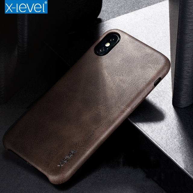 X-Level High Quality Vintage Luxury PU Leather Phone Cases For Apple IPhone X Free Shipping Cover Mobile Phone Accessories Case
