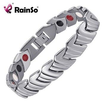Rainso Pain Relief Health Care Magnetic Healing Bracelet Titanium Magnetic Bracelets Plated For Men 1
