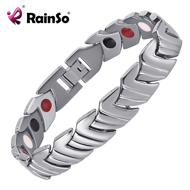 Rainso Pain Relief Health Care Magnetic Healing Bracelet Anium Bracelets Silver Plated For Men