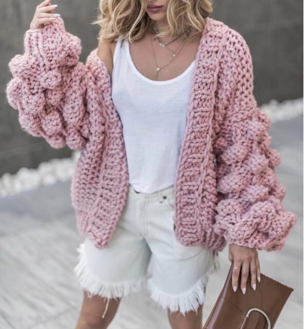 2019 осень зима для женщин свитер мяч фонари рукавами кардиганы для женский Вязание тянуть грубой ленивый cadigans свитер джемпер