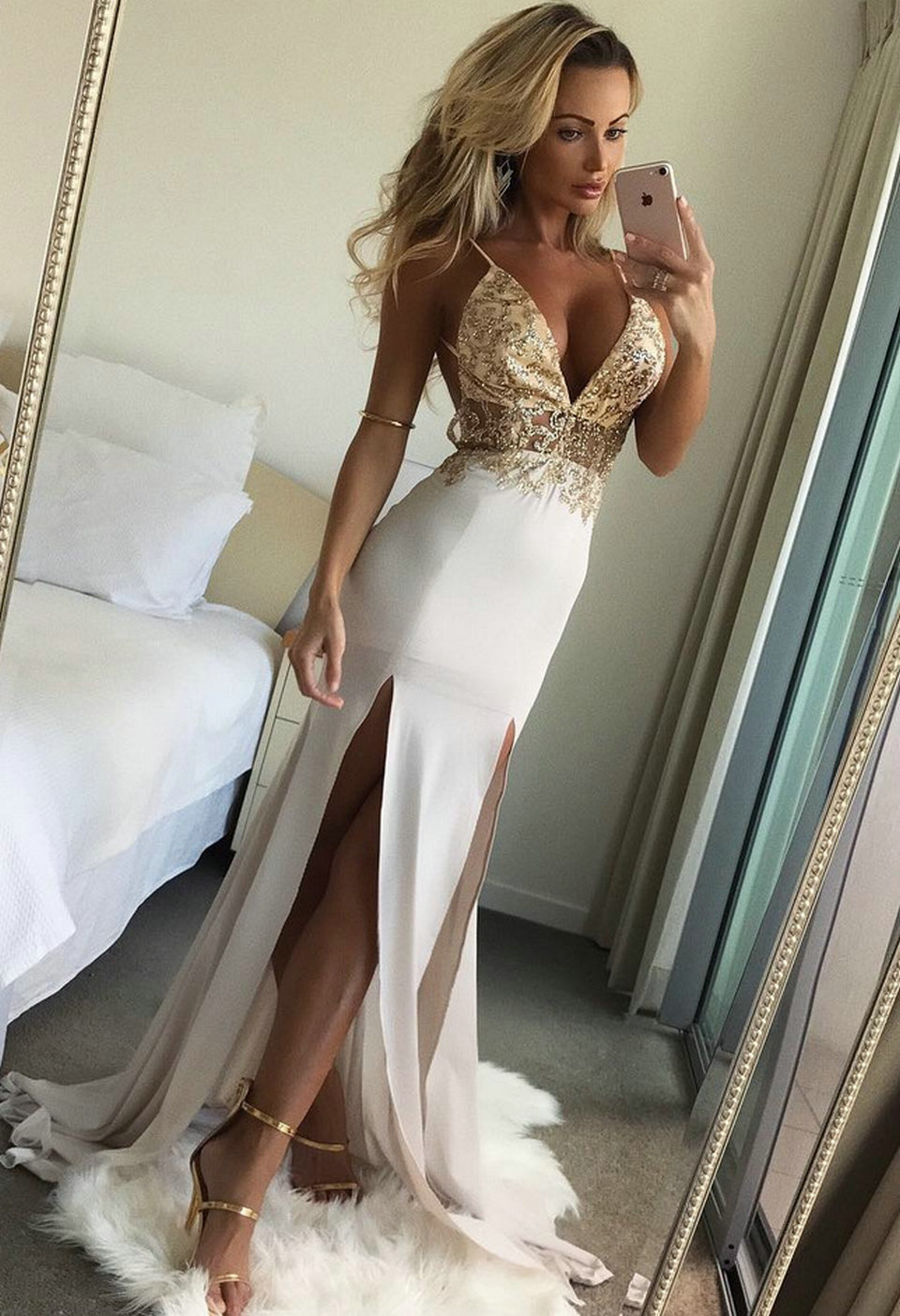 3f0dfc8ad0 US $39.0 |Fashion Ivory Mermaid Long Evening Gowns 2018 Sexy Evening  Dresses Women Party V Neck Elastic Satin Backless Formal Dress Prom-in  Evening ...