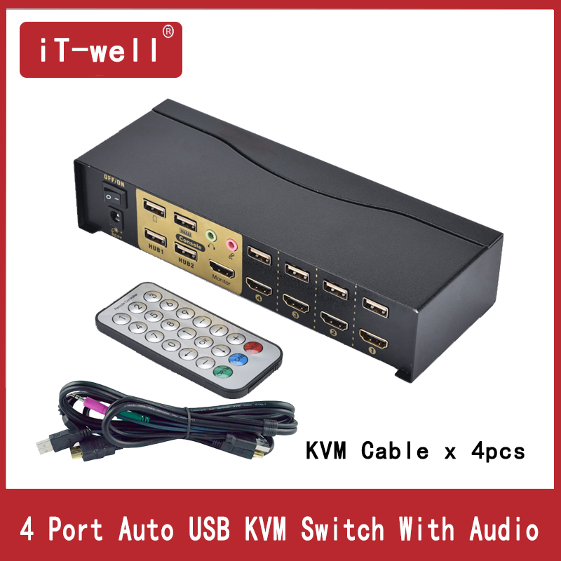 4 Port KVM Switch  HDMI KVM Switch USB2.0 With Audio Cables Splitter Mouse Keyboard 4Kx2K HDMI Switcher