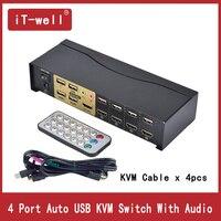 USB HDMI kvm переключатель 4 Порты и разъёмы HDMI USB2.0 с аудио кабели Splitter Мышь клавиатуры 4 К x 2 К HDMI коммутатор
