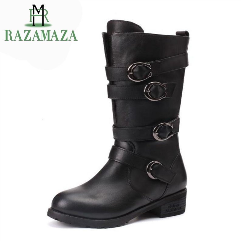 Femmes En 3441 Taille Chaussures Chaud Bottes Noir Boucle D'hiver mollet Punk Cuir Peluche Mi Appartements Razamaza Véritable Moto L34Rj5A
