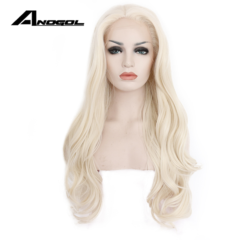 Anogol Natural Hairline Long Body Wave Platinum Blonde Glueless High Temperature Fiber Synthetic Lace Front Wig For White Women