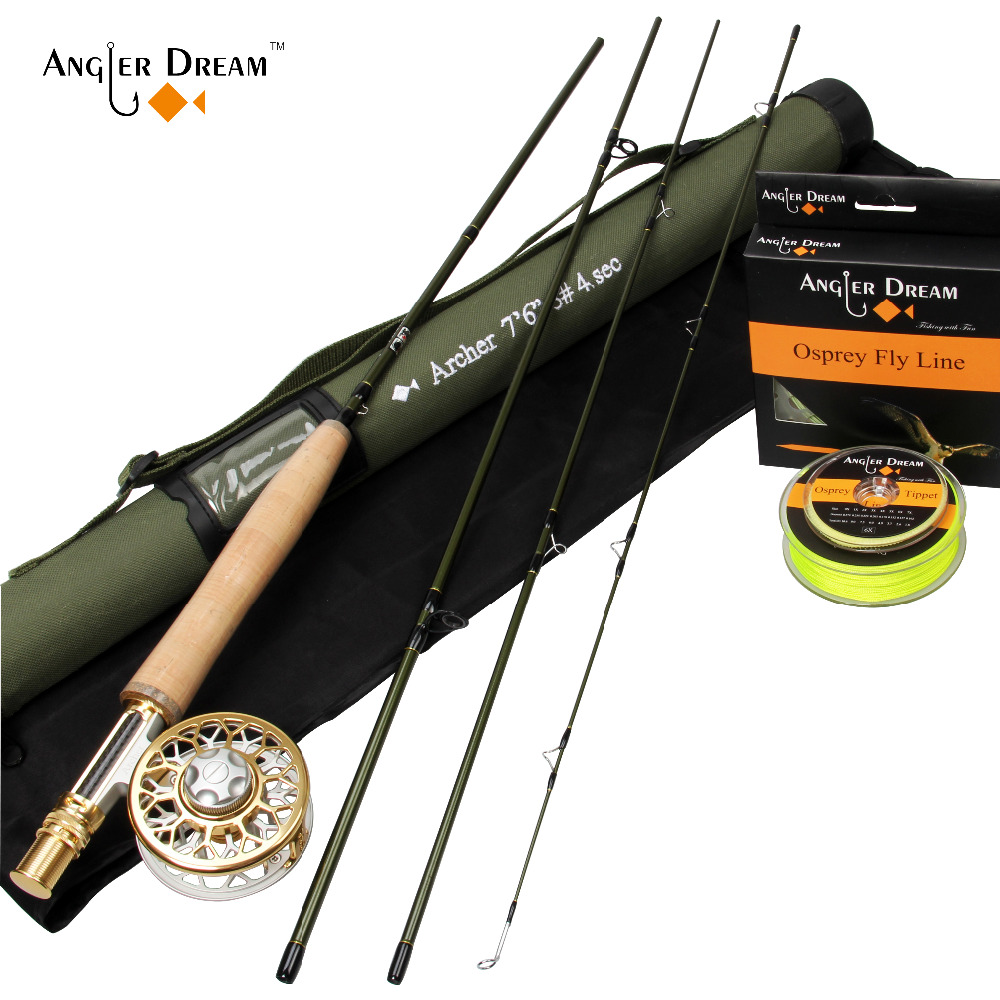 Fly Rod Combo 7'6'' 3WT Fly Fishing Rod 3/4WT CNC Machined Aluminum Gold Silver Fly Reel Fly Line Backing Line Leader Tippet crony st8003 3 gc pro stream series rod weight 79g 8 0 3 3pieces fly rod 6 15g fishing rod