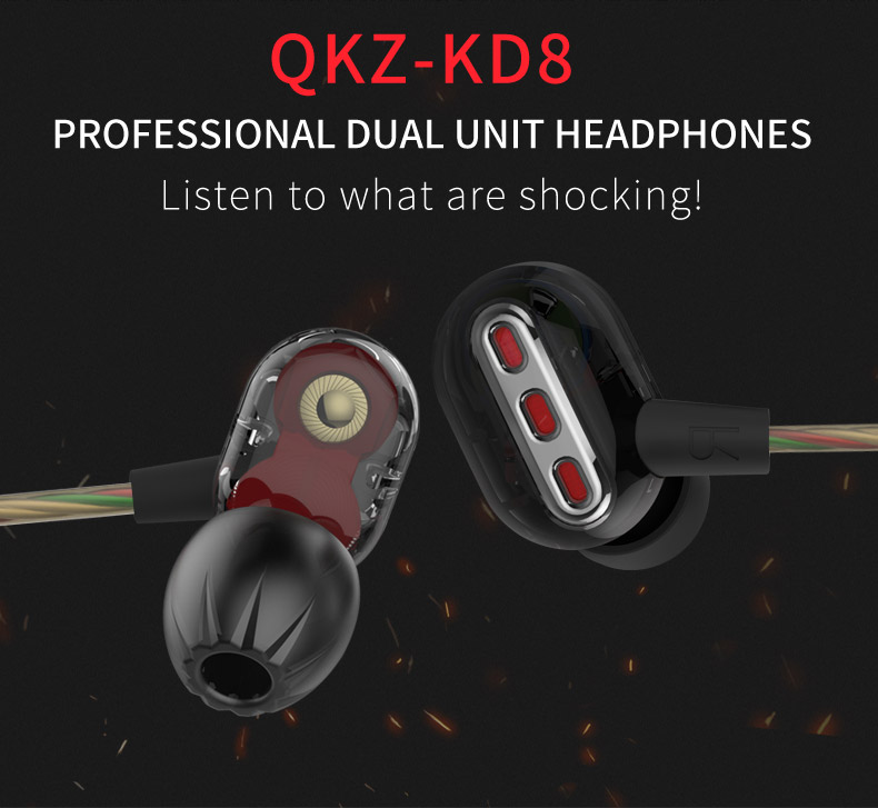 Genuine New Original QKZ KD8 Double Unit Drive In Ear Earphone Bass Subwoofer Earphone HIFI DJ Monito Running Sport Earphone (8)