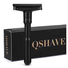 QShave Luxurious Black Adjustable Safety Razor Can Design Name on It Classic Stand Men Shaving 5 Gift Blades