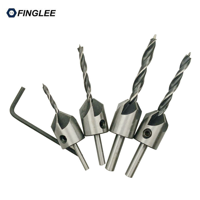цена на FINGLEE 4pcs 3,4,5,6mm HSS Countersink Power Tool Drill Bits Set 5 flutes Woodworking Chamfer Countersinks Bit Reamer
