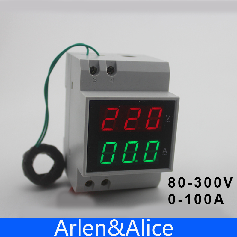 Din rail LED display Voltage and current meter with extra CT Current Transformers voltmeter ammeter range AC 80-300V 0.1-99.9A free shiping din rail dual digital display range ac 80 300v 0 100a voltage and current meter din rail voltmeter ammeter