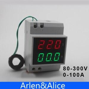 Image 1 - Misuratore di tensione e corrente con display a LED su guida Din con trasformatori di corrente CT extra gamma amperometro voltmetro ca 80 300V 0.1 99,9a