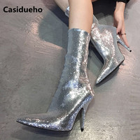 Sparkling Silver Women Boots Sexy Pointy Toe Stiletto Party Shoes Woman Dress Ankle Botas Mujer High Quality Lady Pumps Shoes