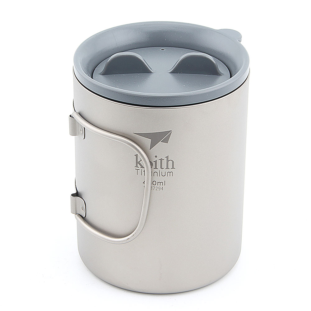 Keith Ti3341 New Double-wall Titanium Mug Camping Cup Water Cup 450ml 130g KS815 450ml 15 2oz double wall keith titanium cup with loose coffee infuser camping tea cup with lid travel mug tea maker ti3521