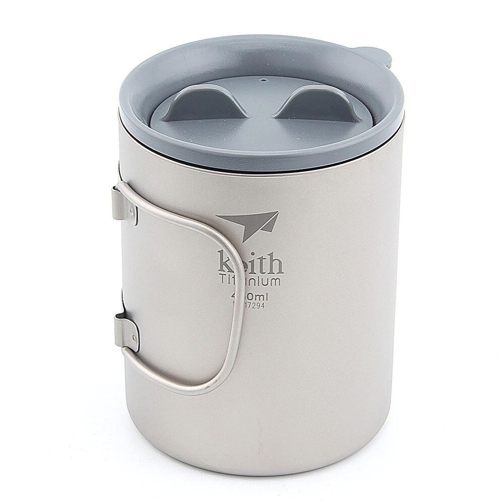 Keith Ti3341 nouvelle tasse à Double paroi en titane tasse de Camping tasse d'eau 450 ml 130g KS815