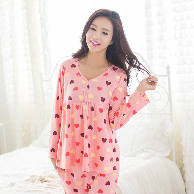 LIKEPINK 2017 Pijamas Mulheres Pijama Conjuntos de Pijama De Algodão Ponto Amor Coração V Pescoço Femme Mujer Feminino Manga Longa Sleepwear ROSA