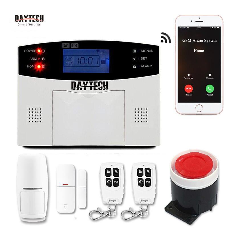 DAYTECH bezpieczeństwo w domu system alarmowy gsm dym ogień PIR DIY włamywacz bezprzewodowy system alarmowy czujnik wykrywacz ruchu zestaw czujników syreny