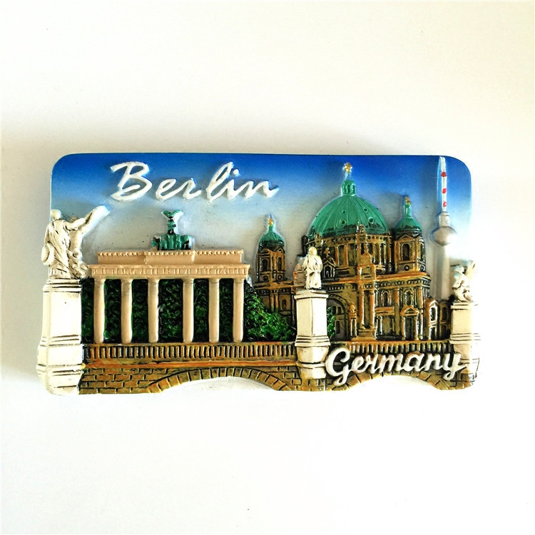Handmade Painted Berlin Building 3D Fridge Magnets Germany Tourism Souvenir Refrigerator Magnetic Stickers Home Decoration