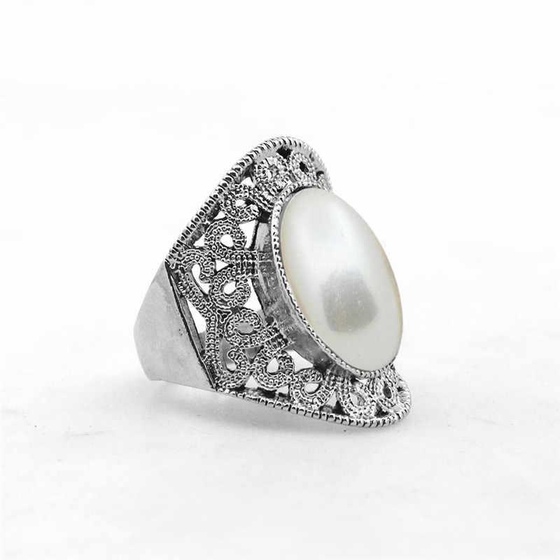 Oval Pearl แหวนดอกไม้ผู้หญิง Hollow แหวนโบราณชุบเงินงานแต่งงานแหวนแฟชั่นเครื่องประดับ
