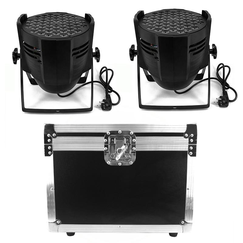 Flight Case 2pcs Aluminum Alloy LED Par 54x9W RGB Windmill Lighting Can Par Led Spotlight For DJ Projector Wash Lighting Stage