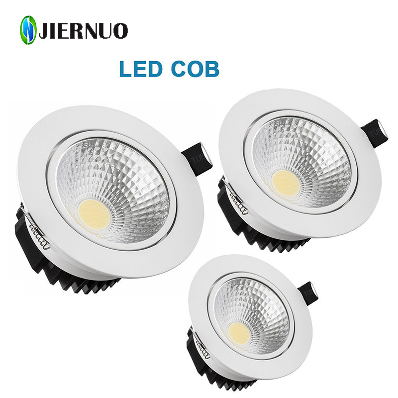 LED Downlight 7W 9W 12W 15W 18W Dimmable Recessed Warm/cold white led light COB LED Spot light led ceiling lamp AC85-265V CJ warm white led recessed light energy saving downlight indoor ceiling lamp pack of 4 12w 3000k