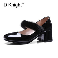 Ladies Wedding Shoes 2018 New Fashion Women Mary Janes Pumps Luxury Rhinestone Fur Decoration High Heels For Women Size 33-43