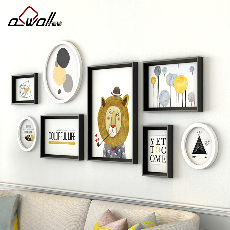 Collage Frames Modern Round Photo Frames For Picture Sofa Background