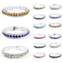 Fashion Seaside 1PC  Graceful Women Crystal Chain Jewelry Bangles 12 Colors Zircon Wedding Silver Bracelets