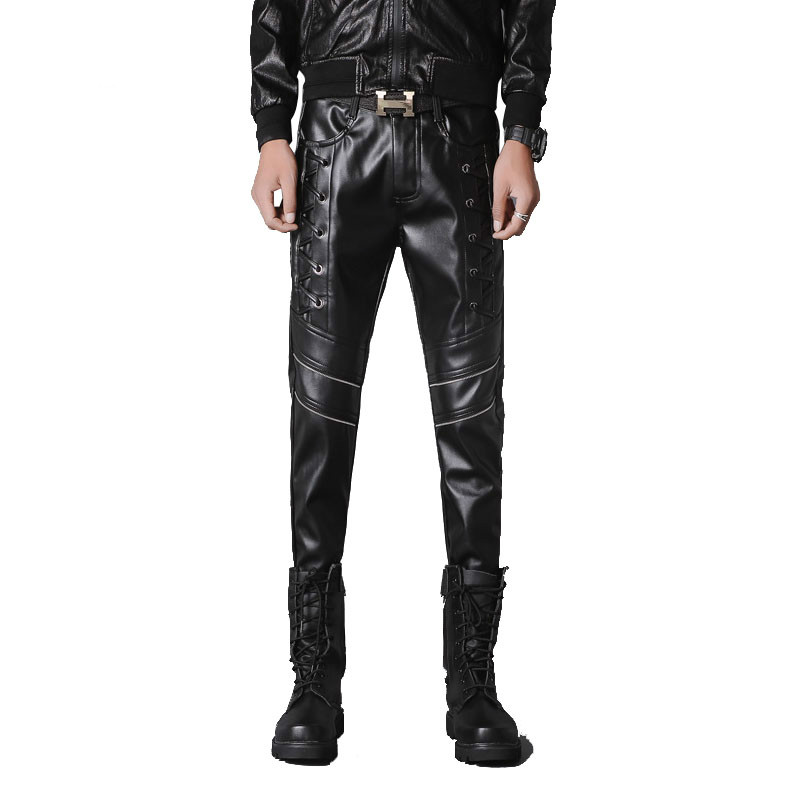 Male Slim Fit PU Leather Locomotive Pants Rock Stage Show Clothing Men Leather Pants Fashion Punk Casual Pant