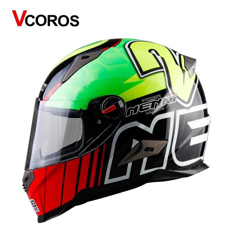 VCOROS plein visage moto casque anti-buée racing moto casques individualité hommes et femmes moto casque ece approuvé