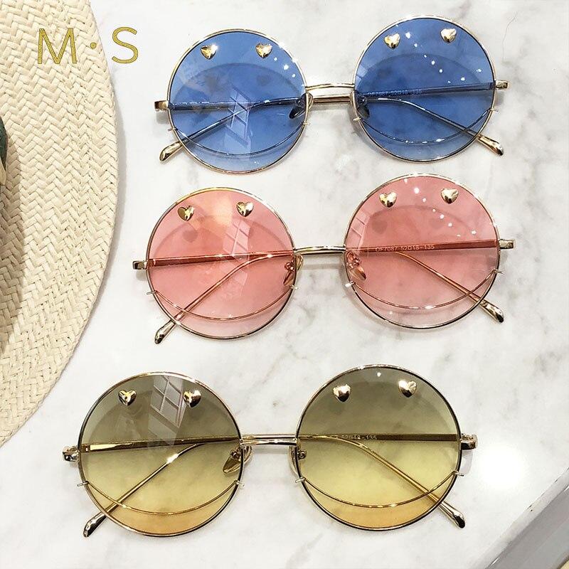 MS Sunglasses Women 2018 Classic Brand Designer Sunglasses High Quality Eyewear New Trendy Round Sunglasses Case